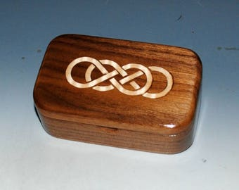Handmade Wooden Box With Double Infinity Maple Inlay in Walnut - Symbolic Wood Box Perfect as a Gift !