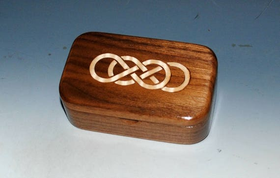 Handmade Wooden Box With Maple Double Infinity Inlay in Walnut - Symbolic Wood Box Perfect as a Gift !