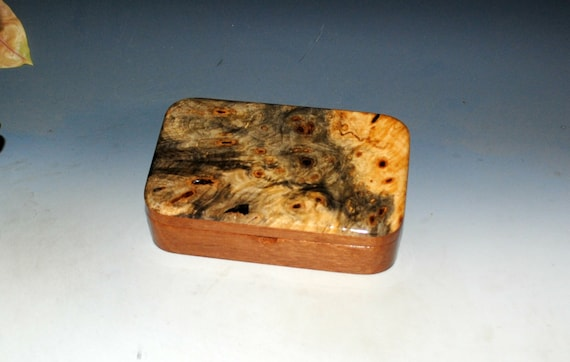 Wooden Treasure Box of Buckeye Burl on Mahogany by BurlWoodBox - Handmade in the USA