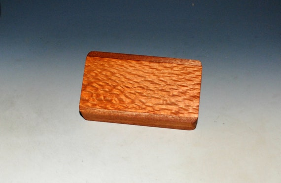 Slide Top Small Wood Box of Mahogany With Lacewood - USA Made by BurlWoodBox With a Food Safe Finish