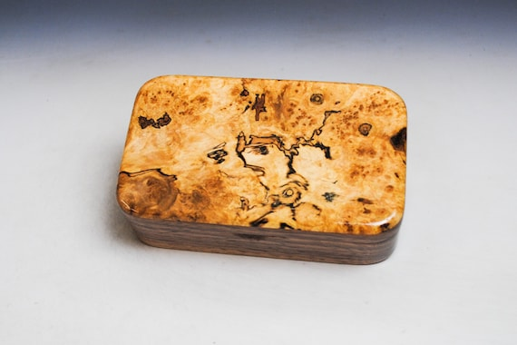 Wooden Treasure Box of Walnut & Spalted Maple - Handmade Wood Box for Keepsakes, Jewelry or as a Gift