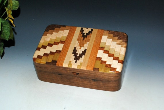 Upcycled Cutting Board Wood Stash Box on Walnut - Wood Jewelry Box, Wooden Jewelry Box, Small Wood Box, BurlWoodBox, Upcycled Recycled Wood