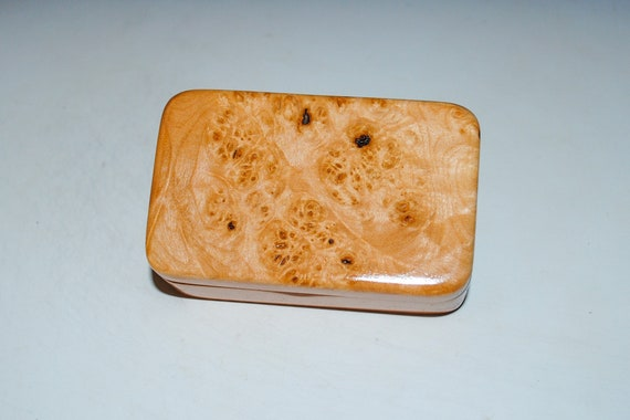 Very Small Wooden Box of Cherry With Maple Burl by BurlWoodBox - USA Made Small Gift Box - Handmade Gift !