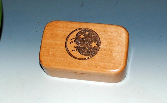 Wooden Trinket Box - Moon & Stars Engraved on Alder - Jewelry Box, Wooden Box- Wood Box, Keepsake Box, Treasure Box, Gift Box, Crescent Moon