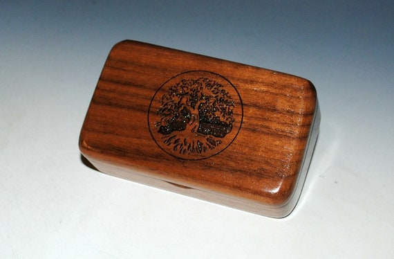 Tree of Life Box - Engraved Walnut Handmade Tiny Wood Treasure Box- Gift Box , Wood Jewelry Box, Wood Keepsake Box by BurlWoodBox, Small Box