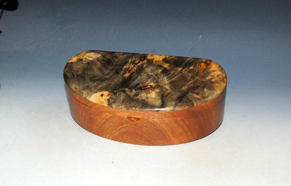 Handmade Wooden Box - Kidney Shaped of Buckeye Burl on Mahogany With a Tray
