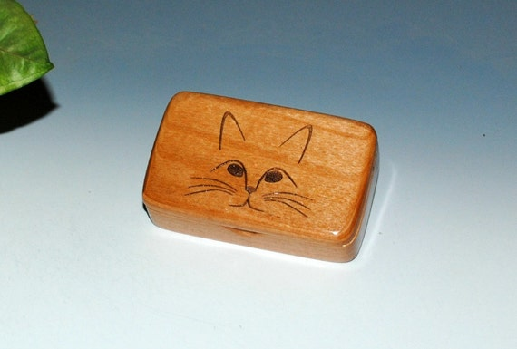 Laser Engraved Cat Face on Alder Handmade Tiny Wood Treasure Box - Gift Box , Wood Jewelry Box, Wood Keepsake Box by BurlWoodBox, Kitten Box