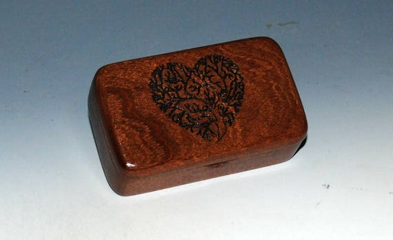 Tree of Life Heart Box Small Wooden Box of Mahogany - Handmade Tiny Wood Box By BurlWoodBox - Great for a Small Gifts