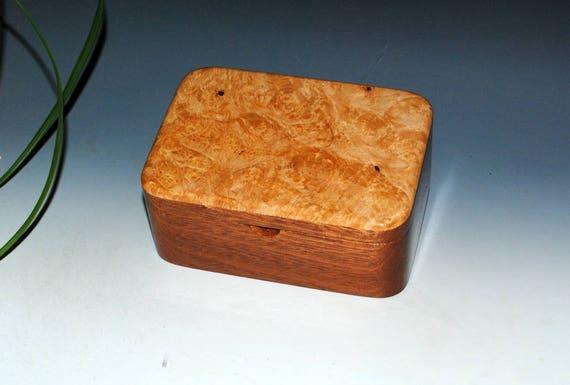 Small Wood Box With Tray - Handmade Wooden Box - Maple Burl on Mahogany-Wood Jewelry Box, Stash Box, Keepsake Box, Wooden Jewelry Box, Boxes