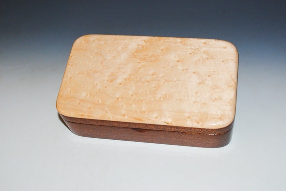 Wooden Box of Birdseye Maple on Mahogany - Handmade Wood Box by BurlWoodBox - Small Stash, Treasure or Jewelry Box
