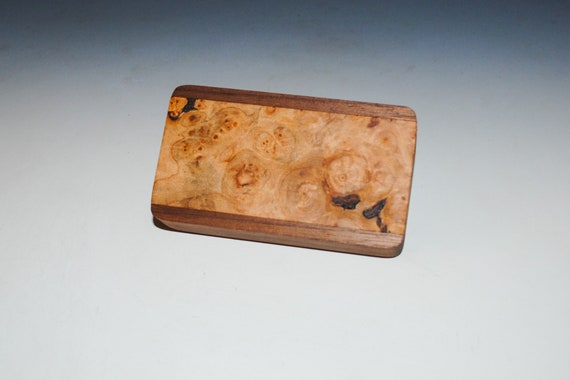 Slide Top Small Wood Box of Walnut With Maple Burl - USA Made by BurlWoodBox With a Food Safe Finish