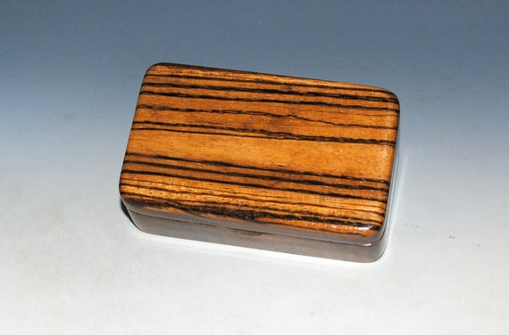 Very Small Wooden Box of Walnut With Zebrawood by BurlWoodBox - Handmade in the USA !