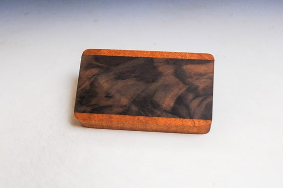 Slide Top Small Wood Box of Mahogany With Figured Walnut - USA Made by BurlWoodBox With a Food Safe Finish