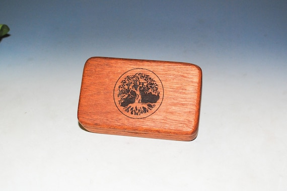 Small Wooden Box With Engraved Tree of Life of Mahogany -  Handmade Tiny Wood Box With Food Grade Finish