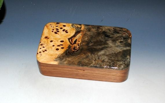 Handmade Wooden Box of Buckeye Burl on Walnut - Small Stash Box for Jewelry or Other Treasures