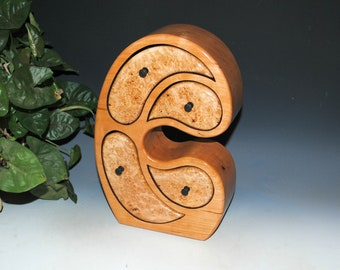 Wood Jewelry Box of Cherry with Big Leaf Maple Burl in Our Madonna Style - Art With Function