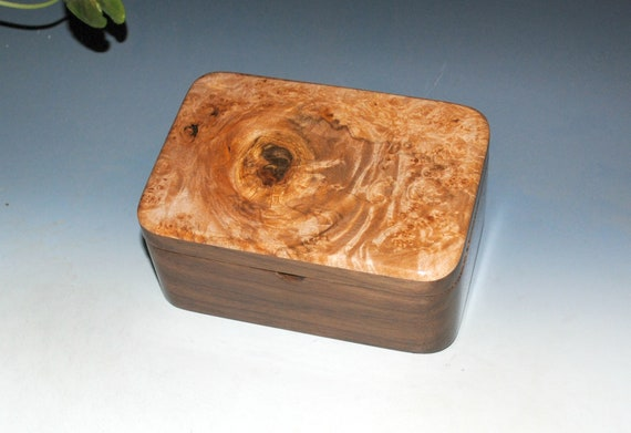 Wooden Box With a Tray of Maple Burl on Walnut - Handmade  in the USA by BurlWoodBox - Eye of the Storm Box