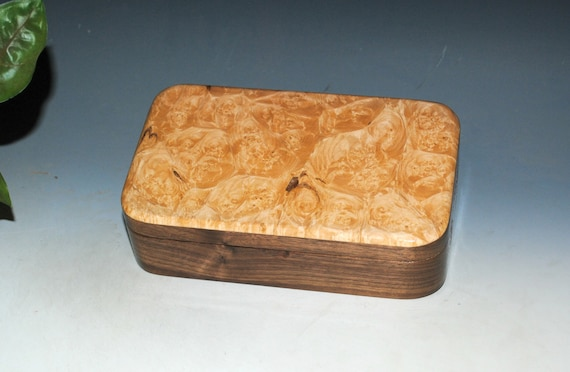 Wooden Box of Maple Burl on Walnut - Small Handmade Stash Box by BurlWoodBox With Hinged Lid