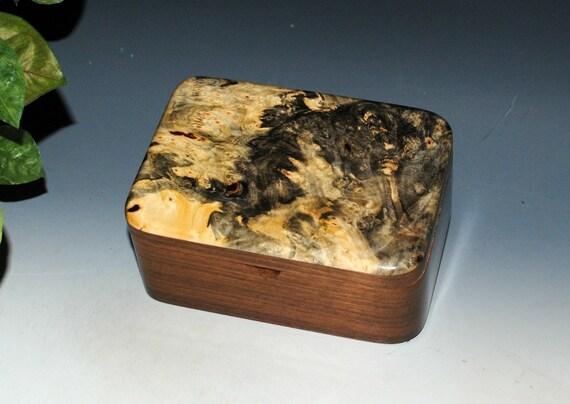 Handmade Wooden Box with Tray in Walnut and Buckeye Burl - Small Desk Box - Stash Box - Handmade Box - Wood Box - Gift Box - Keepsake Box