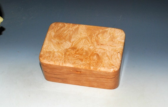Wooden Box With Tray and Hinged Lid of Maple Burl on Cherry by BurlWoodBox - Handmade Gift For Her