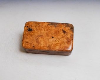 Small Wooden Box of Mahogany & Maple Burl Handmade in the USA by BurlWoodBox - Excellent as a Gift or to Hold a Gift !
