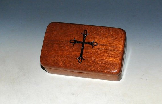 Small Wooden Box With Cross Engraving on Mahogany -  Rosary Box - Handmade Tiny Wood Box - Small Religious Gift