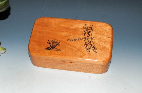 Wooden Box With an Engraved Dragonfly of Cherry - Handmade in The USA by BurlWoodBox