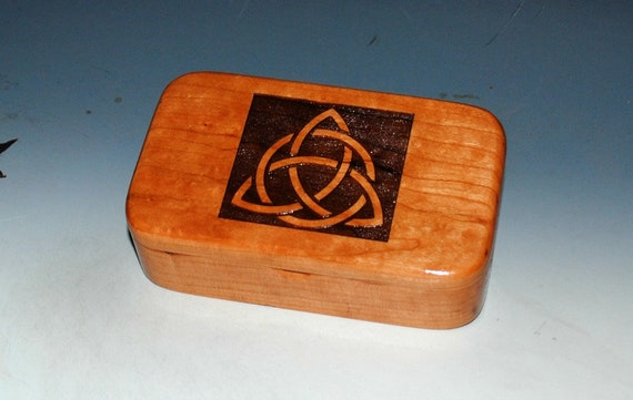 Wooden Box With Engraved Triquetra or Celtic Triangle on Cherry - Handmade in the USA by BurlWoodBox - Symbolic Gift for Keepsakes