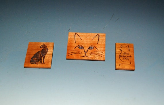 Small Engraved Cat Magnets on Cherry - The Purrfect Small Gift for the Cat Mom, Cat Dad or Your Vet!