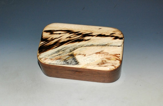 Spalted Maple on Walnut Wooden Trinket Box - USA Made Natural Hardwood Box Handmade by BurlWoodBox - Unique Gift !  Free Shipping