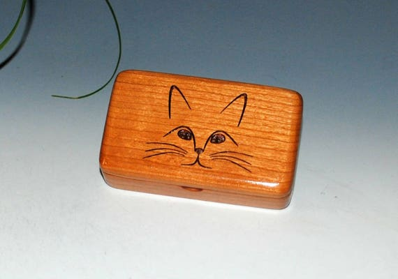 Wooden Box With Engraved Cat Face - Handmade Wood Box With Lid by BurlWoodBox - The Purrfect Gift for Your Feline Loving Friend !