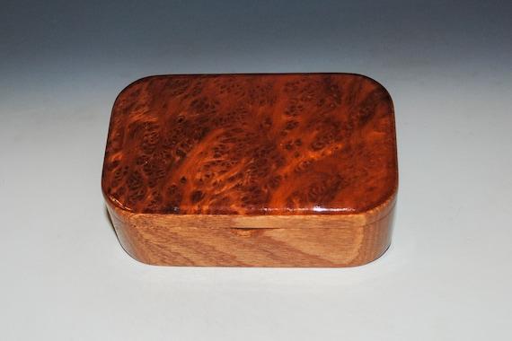 Wooden Trinket Box of Redwood Burl on Mahogany - Handmade Small Wood Box by BurlWoodBox - Unique Gift !