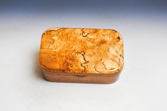 Wooden Trinket Box With Hinged Lid of Spalted Maple on Mahogany- USA Made Small Wood Jewelry Box