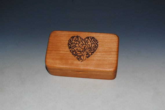 Small Wooden Box With Engraved Tree of Life Heart of Cherry -  Handmade Tiny Wood Box With Food Grade Finish