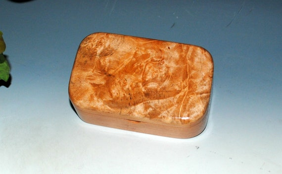 Wooden Trinket Box of Maple Burl on Cherry -  Handmade Wood Box With Lid by BurlWoodBox