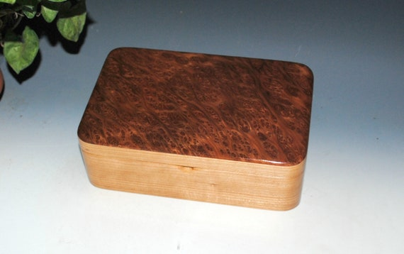 Wooden Stash Box of Redwood Burl on Cherry - Handmade Wood Box With a Hinged Lid by BurlWoodBox - Perfect For Special Treasures or Jewelry