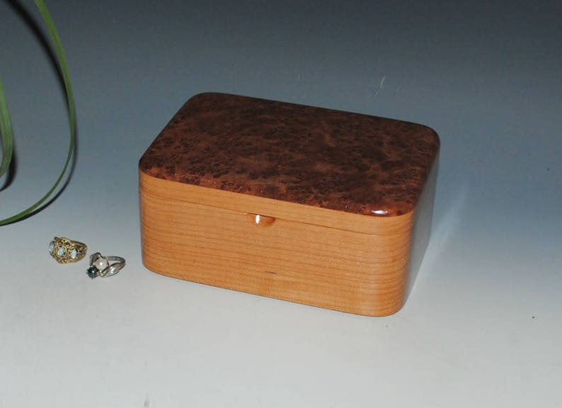 USA Made Gift ! Handmade Wood Box With Hinged Lid By BurlWoodBox Wooden Box With a Tray of Redwood Burl on Cherry