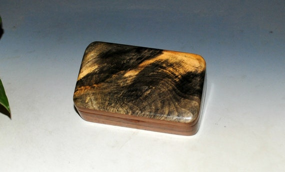 Very Small Wooden Box of Walnut & Buckeye Burl Handmade by BurlWoodBox -  Excellent Small Gift Box or to Hold a Special Gift - USB Photo Box