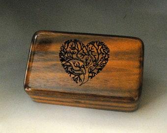 Small Wooden Box With Engraved Tree of Life Heart of Walnut -  Handmade Tiny Wood Box