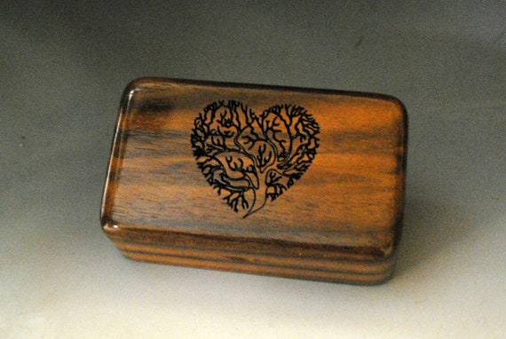 Small Wooden Box With Engraved Tree of Life Heart of Walnut -  Handmade Tiny Wood Box