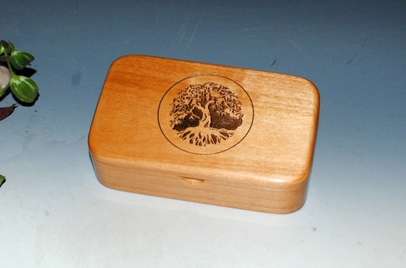 Tree of Life Engraved Wooden Treasure Box of Alder - Handmade Wood Box by BurlWoodBox With Hinged Lid - Sacred Tree