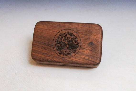 Small Wooden Box With Engraved Tree of Life of Walnut -  Handmade Tiny Wood Box With Food Grade Finish