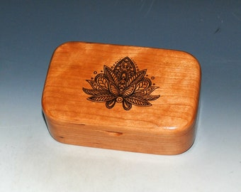 Lotus Flower Engraved Wooden Trinket Box of Cherry -  Handmade Small  Wood Box by BurlWoodBox