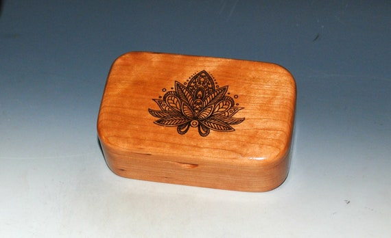 Lotus Flower Engraved Wooden Trinket Box of Cherry -  Handmade Small  Wood Box by BurlWoodBox