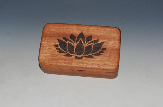 Wooden Box With Lotus Flower Engraved on Mahogany- Handmade by BurlWoodBox With A Food Grade Finish