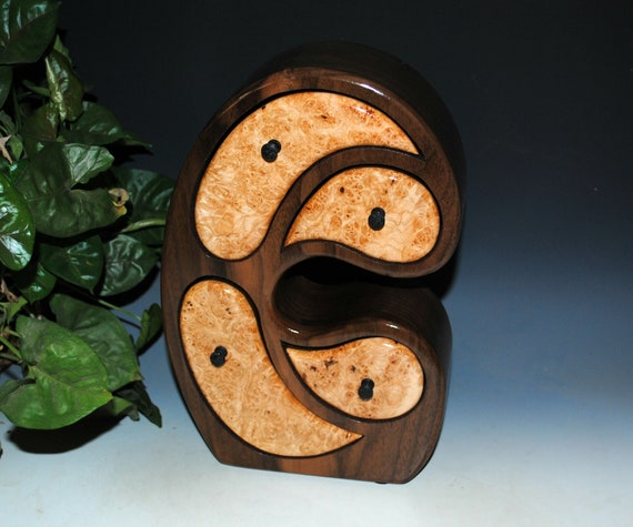 Wood Jewelry Box of Maple Burl on Walnut in Our Madonna Style by BurlWoodBox
