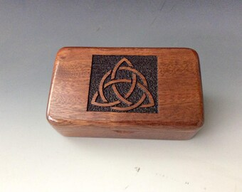 Handmade Laser Engraved Triquetra on Mahogany Tiny Wood Box - Trinity Knot-Celtic Triangle-Wood Jewelry Box-Wood Keepsake Box by BurlWoodBox