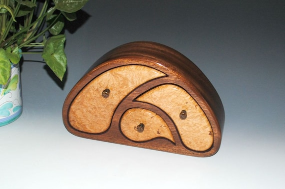 Handmade Wood Jewelry Box of Maple Burl on Mahogany in Our TriOval Style by BurlWoodBox