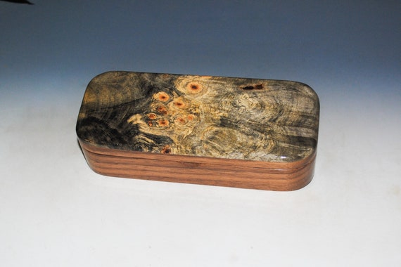 Wooden Pen Box of Buckeye Burl on Walnut - Handmade in the USA by BurlWoodBox - Unique Gift !
