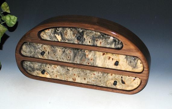Wooden Jewelry Box of Walnut With Buckeye Burl - Handmade Wood Box With Drawers by BurlWoodBox - USA Made Unique Gift